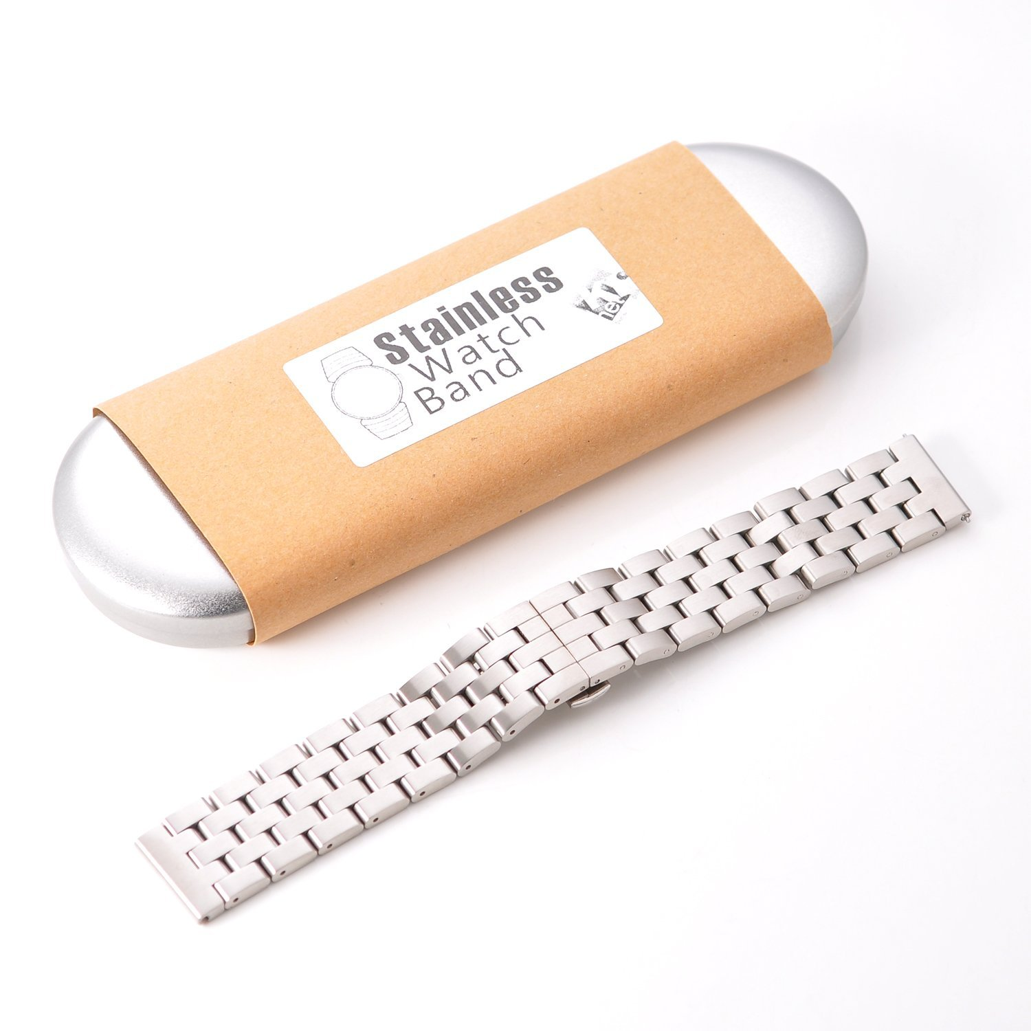 KR-NET 22mm Stainless Steel Chain Metal Smart Watch Strap Band with Quick Release Spring Lock Luxury for Pebble Time (Chainmail/Silver)