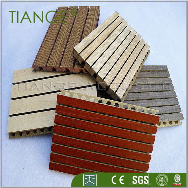 TianGe Factory Interior decorative materials wooden grooved acoustic panels ceiling tiles