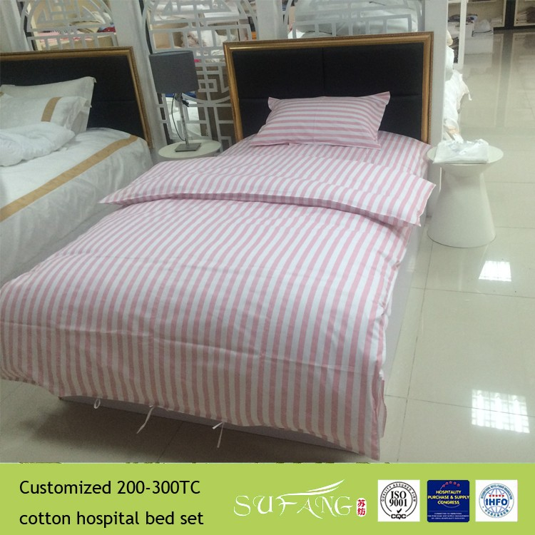 Plain 100% cotton used hospital beds sheets with pillow case