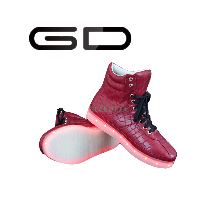 GD concise high-top lace up sneakers flashing LED light adult shoes