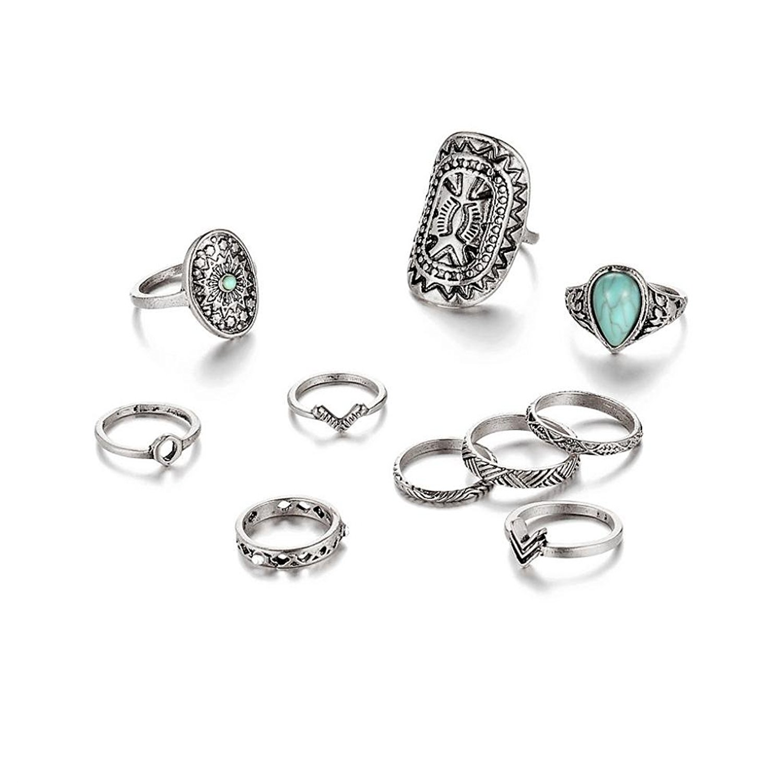 Susenstone 10pcs/Set Women Bohemian Vintage Rings, Above Knuckle Blue Rings Set (Silver)