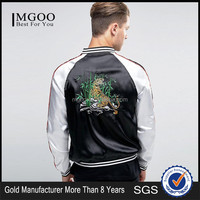 MGOO Custom Made Men Sport Jacket Souvenir Bomber With Tiger Embroidered Raglan Sleeve Thin Coat