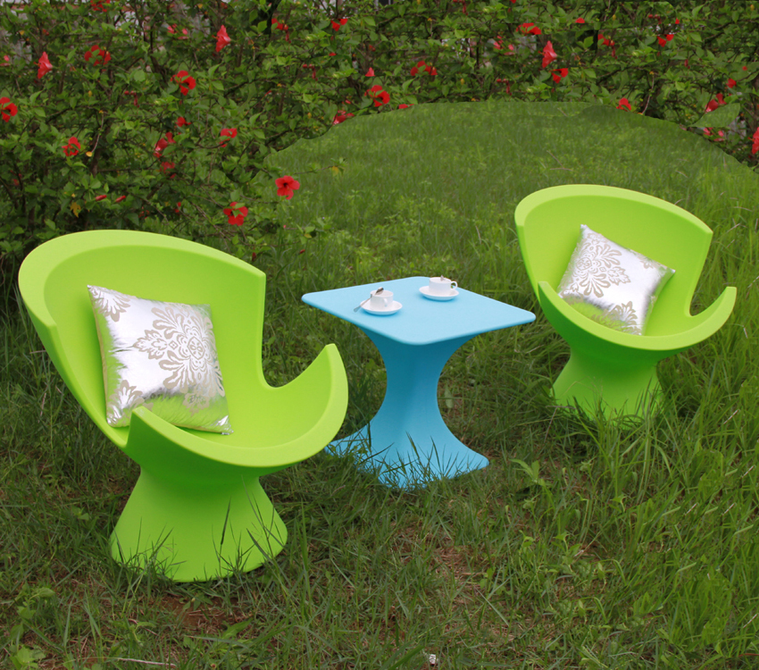 Hotel leisure lounge chair and stool plastic sofa set