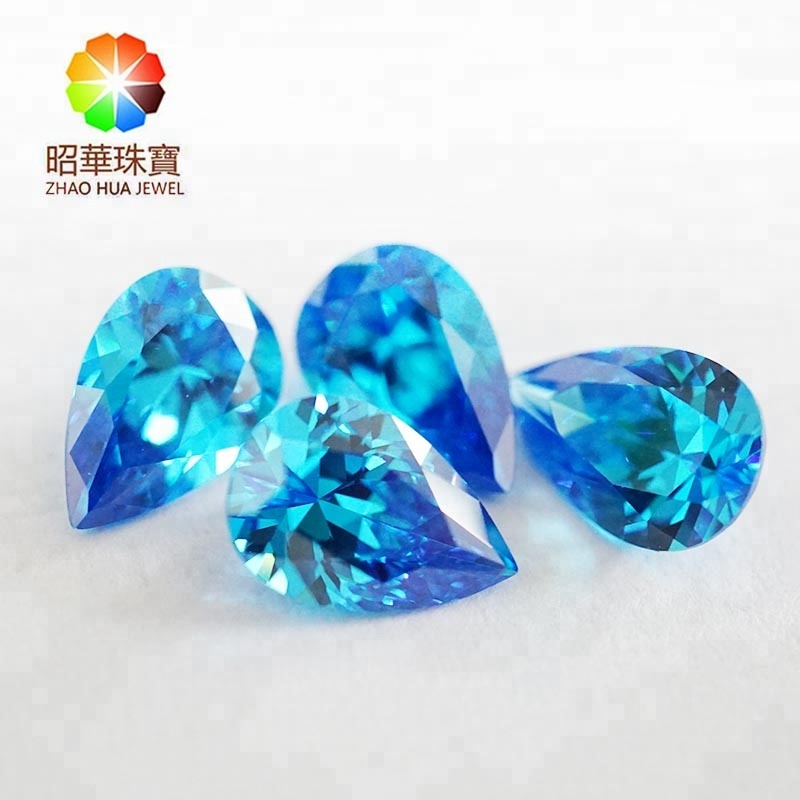 Synthetic loose gemstone wholesale <strong>pear</strong> cut Aquamarine Blue cubic <strong>zirconia</strong> gemstone