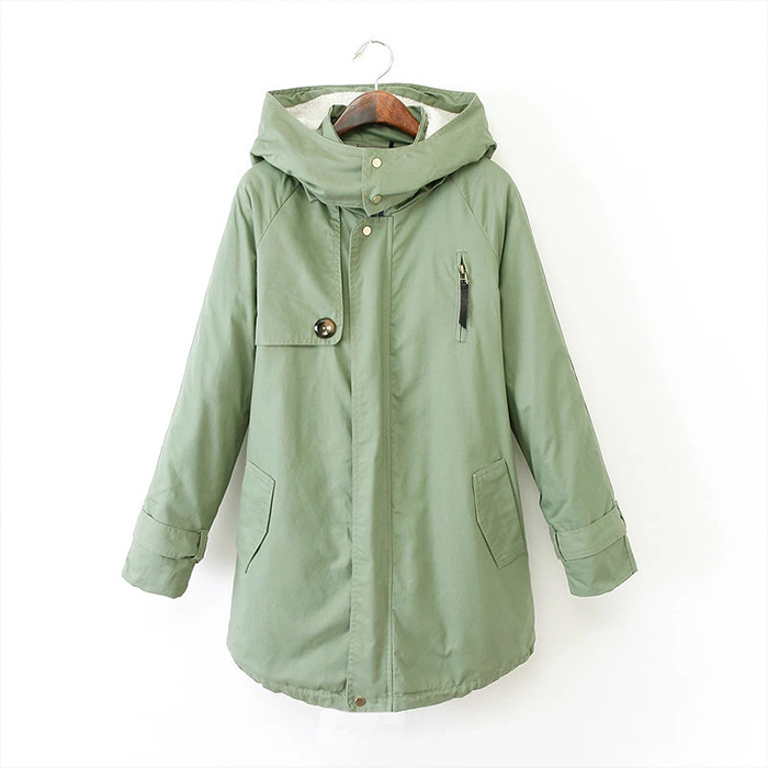 FOFO New Winter 2014 Women's Military Green Hooded Cashmere Coat Padded Jacket Lady Casual Parka Coats RX5006