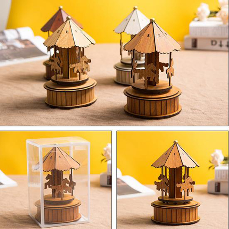 Creative Decoration Wooden Carousel Music Box Student Lovers Birthday Gift Musix Box