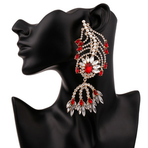 Luxury Big Large Pearl Rhinestone Crystal Feather Shaped Earrings Drop Chandelier Pendant Statement Earrings for Women Party