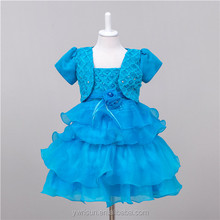 Hot Sale Baby Sky Blue Multilay Fluffy Chiffon Causal Dress Litter Girl Summer Kid Frock Party Designs 2017
