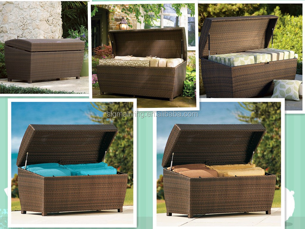2014 All Weather Wicker Storage Chest Waterproof Box Storage Box Outdoor  Patio Storage Bins