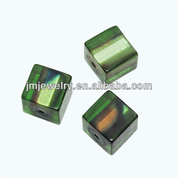 acrylic clear green cube beads for jewelry making and decoration