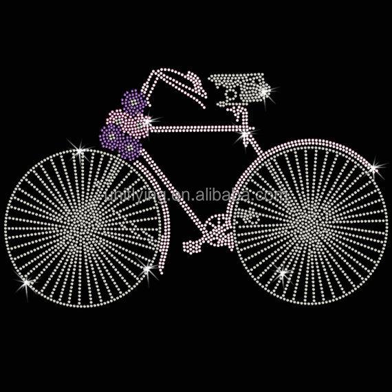 Iron-On Rhinestone Design Grey Motorcycle Live Ride Transfer Biker Bling Motif