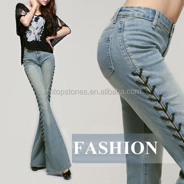 New Arrival Spring Vented Women long denim pants in good quality