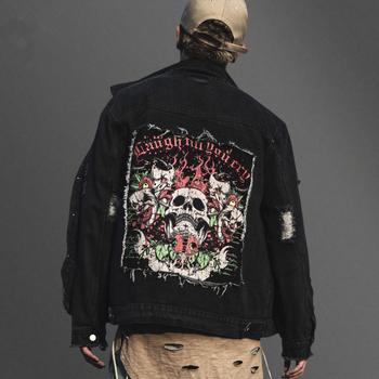76d5002688a94e Latest wholesale mens black custom distressed denim jacket high quality  back printing fancy fashion mens designer