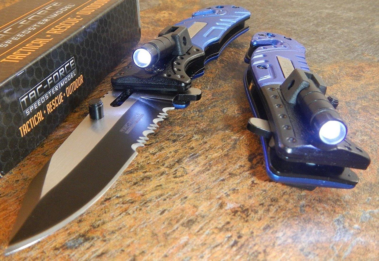 Tac-force Spring Assisted Open Led Light Police Folding Pocket Rescue Knife New