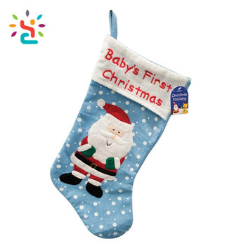 blue xmas stockings own santa claus in snow pattern custom embroidery label baby first christmas marry
