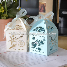 Summer Outdoor wedding supplies,laser cut wedding sea shell & starfish favor boxes for party decoration mariage