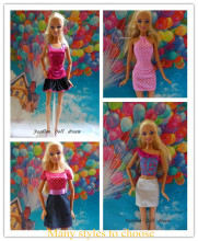 New  1pcs The original Fashion noble   short skirt  Dress Wedding Gown Clothes Party Outfits For Barbie doll many styles