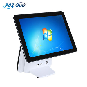 one set of pos system per one carton, China factory supplied waterproof Window cheap retail touch screen pos system dual screen