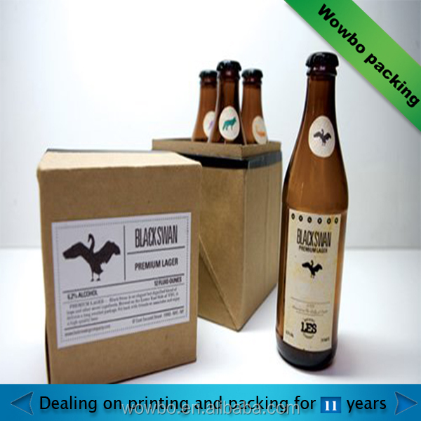 customized Corrugated Cardboard Kraft Paper Beer container with lid