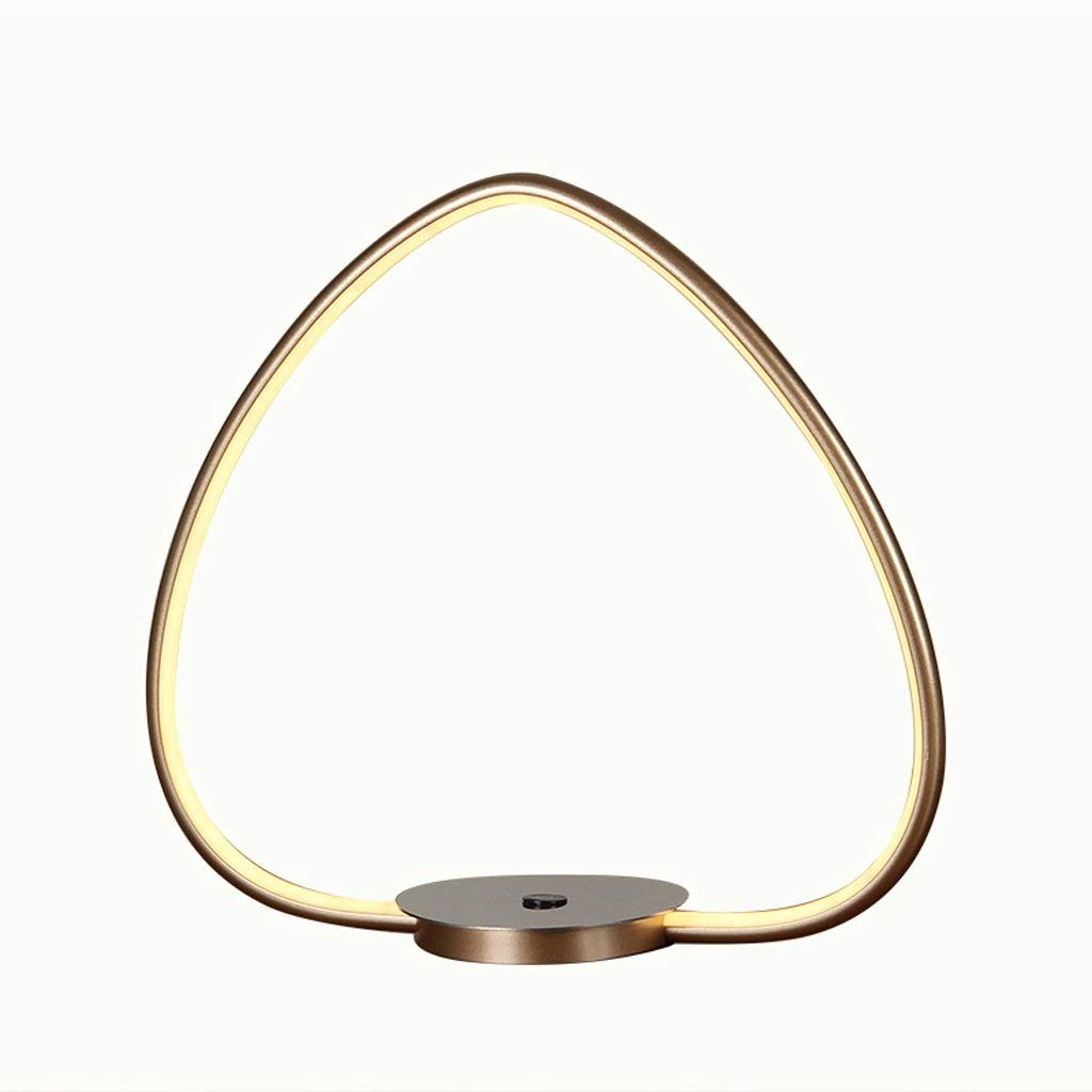 LOFAMI Simple Heart-Shaped LED Desk Lamp, 3-level Touch Dimmer Eye Lamp Desk Lamp, 13W Metal Warm Light Bedside Table Lamp, 3200K (Color : Gold, Size : 40cm)