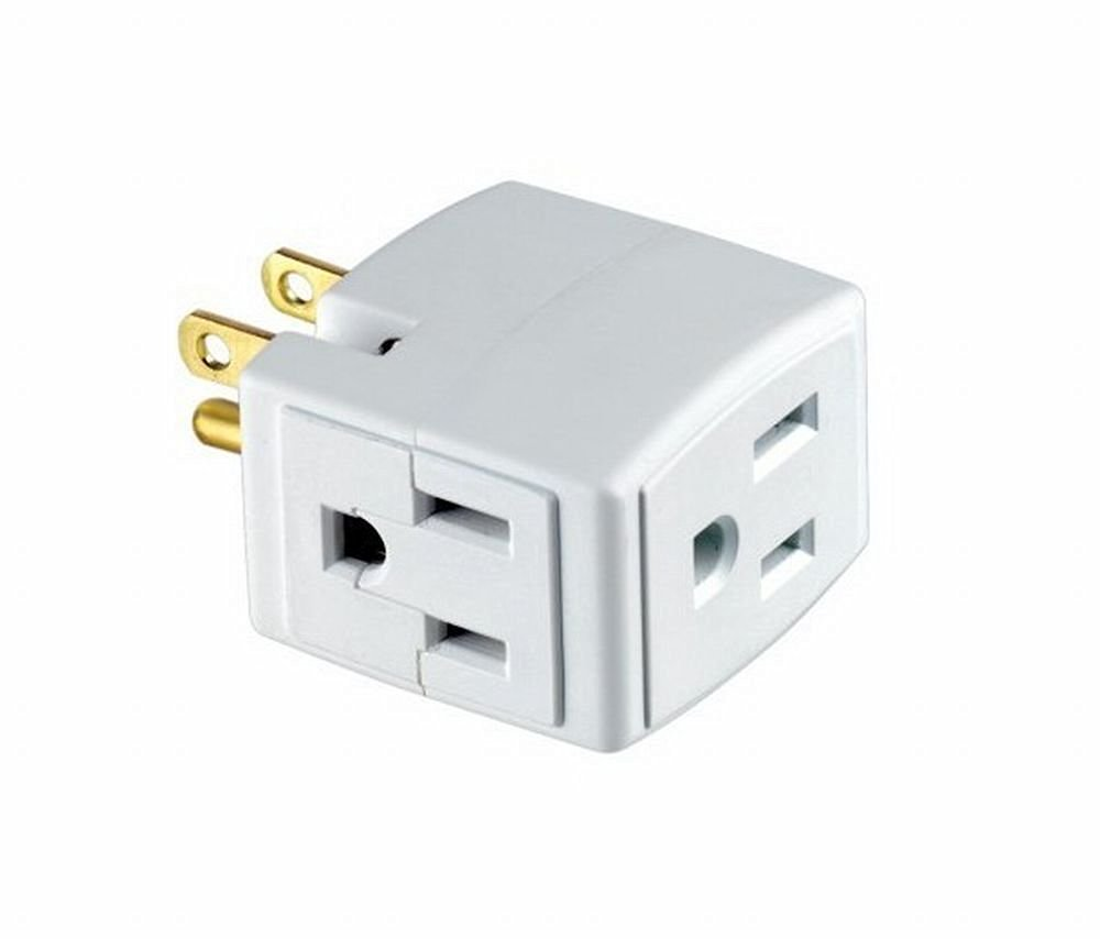 Buy Leviton C22-00692-00W Plug-In Outlet Adapter Single To Triple ...