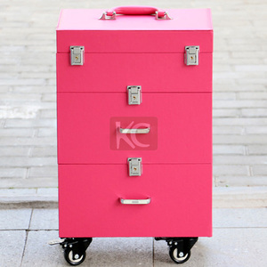 wholesale beautiful pink pvc trolley rolling nail polish carrying case, soft nail beauty case