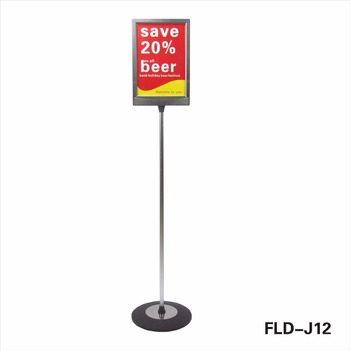 FLD Single Pole Poster Frame Metal Floor Display Stand