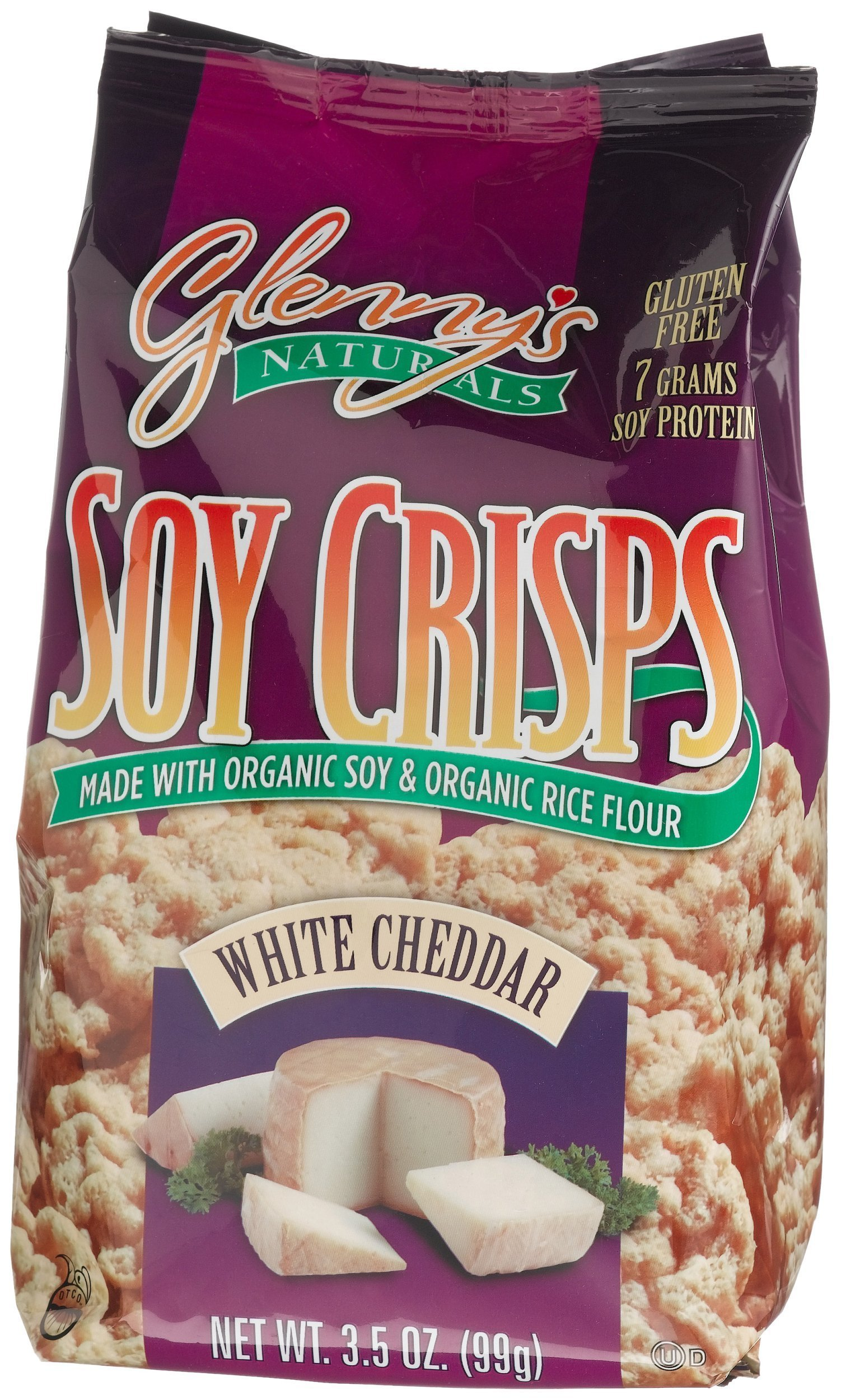 Glenny's Soy Crisps, White Cheddar, 3.5-Ounce Bags (Pack of 6)
