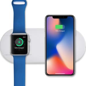 2-in-1 Wireless Fast Charger, Dual Wireless Charging Pad Induction Charger Base for Apple Watch and for smartphone