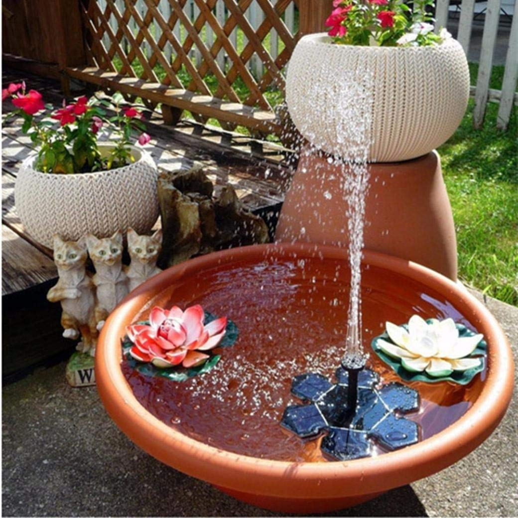 Mintu Solar Bird Bath Fountain Pump, 1.5W Free Standing Solar Fountain Water Pumps Panel Kit Outdoor Birdbath Watering Submersible Pump Fish Tank Decoration for Garden and Patio