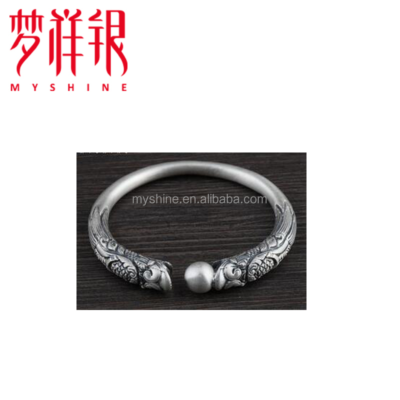 smart Chinese Dragon pattern men silver bangle bracelet