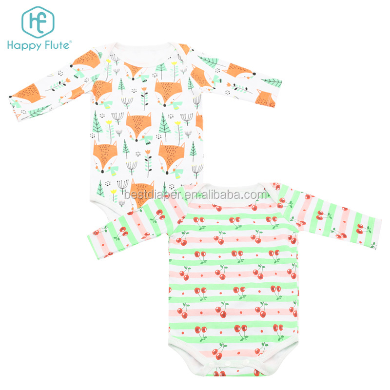 Happy flute baby longsleeve cloth romper cotton toddler baby clothes romper