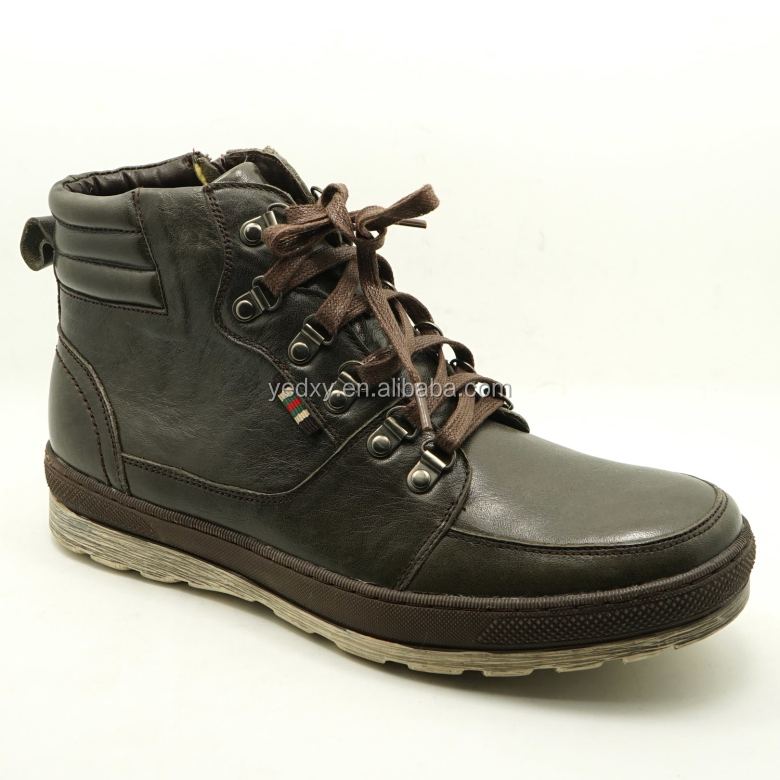 fashionable and durable high quality lace up and rubber sole genuine leather upper men's western boots with cheap price