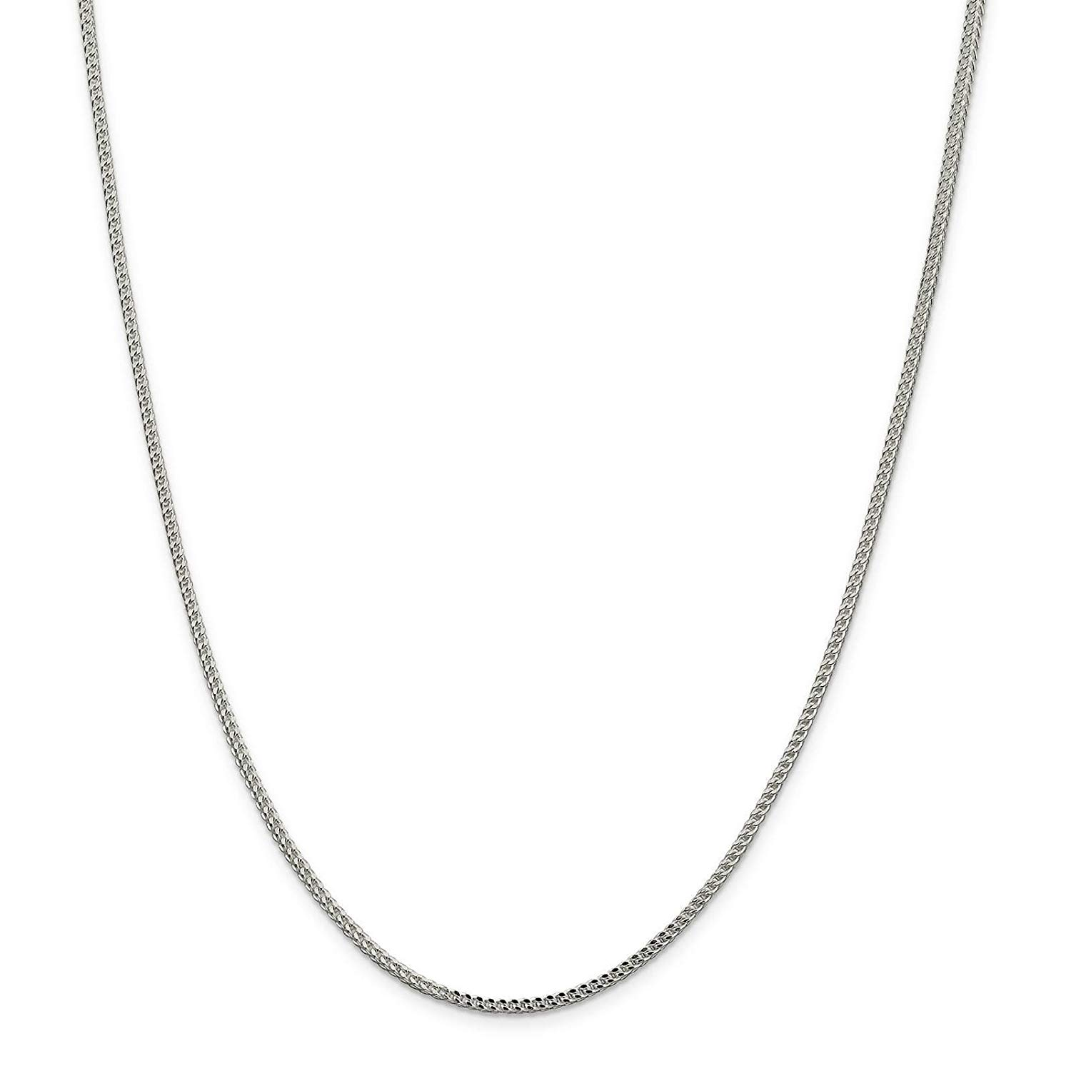 """925 Sterling Silver 2mm Polished Square Franco Chain Necklace 7"""" - 24"""""""