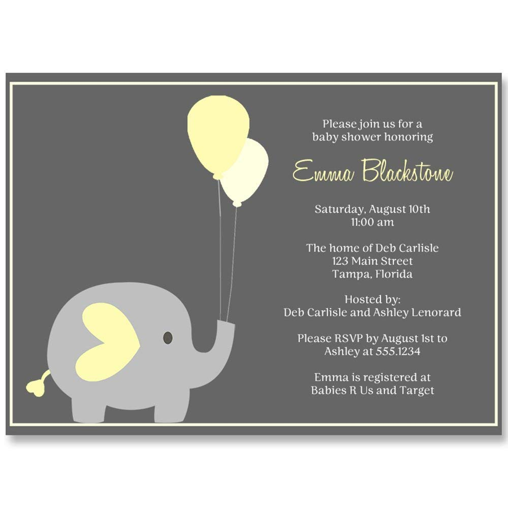 Baby Shower Invitation, Elephant Balloon, Yellow, Gray, Grey, Baby Shower, Elephant Baby Shower, Gender Neutral Baby Shower Invite, 10 Custom Printed Invites with Envelopes