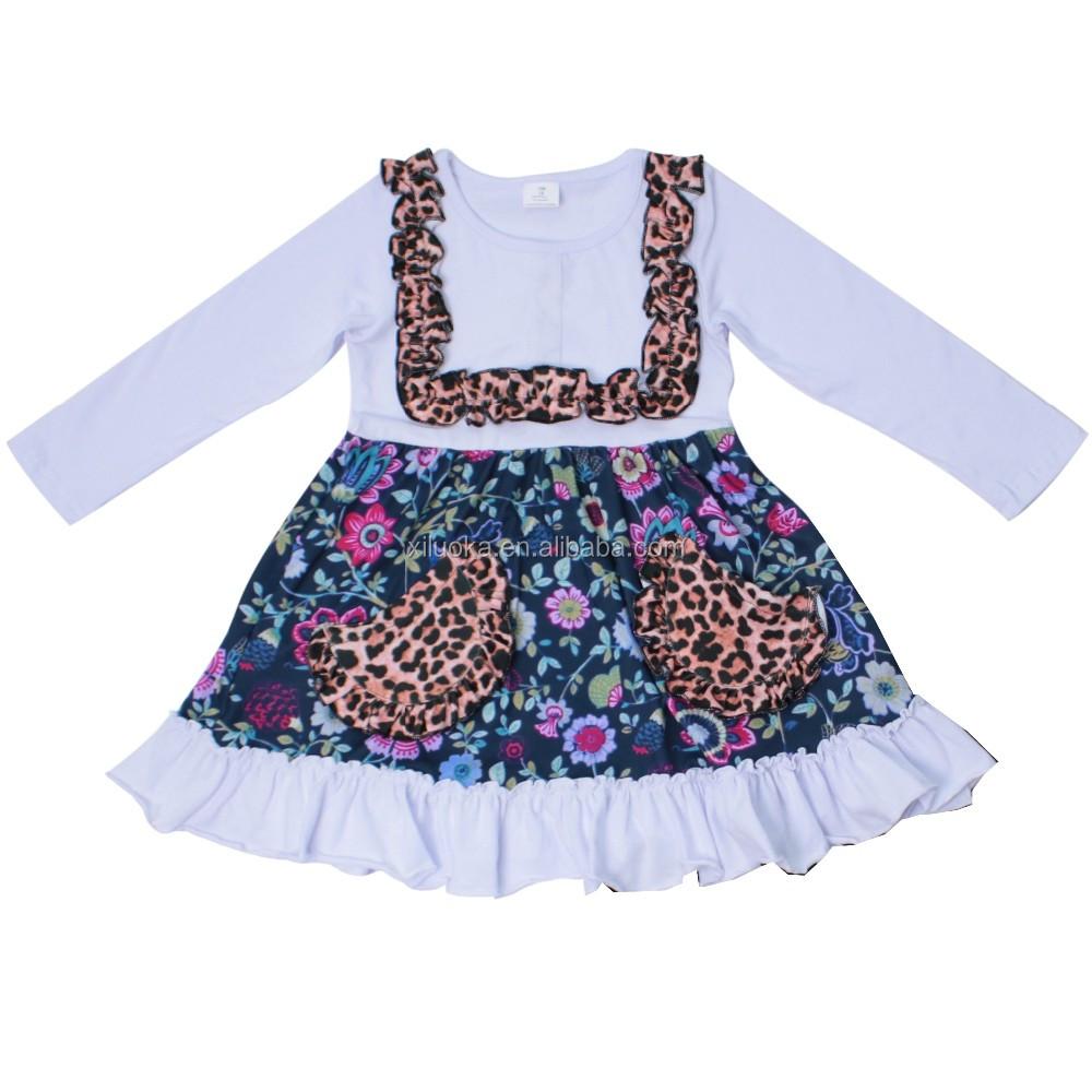 42987cae74b1c Offre Spéciale enfants vêtements fille robe Enfants Fleur Impression  Flutter Manches léopard Fille robe À Volants
