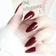 Накладные короткие заостренные ногти, чистый цвет, 28 шт., наклейки для дизайна ногтей, прочные накладные ногти из акрила с клеем(Китай)