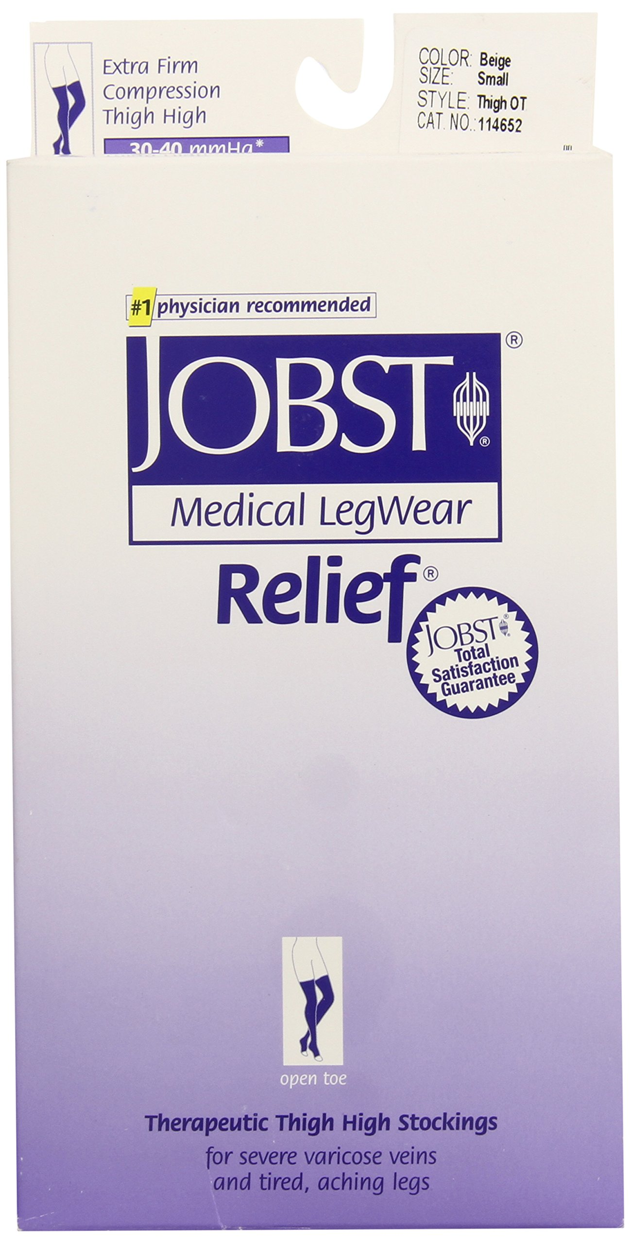JOBST Relief Compression Stockings, 30-40 mmHg, Thigh High, Open Toe, Beige, Small