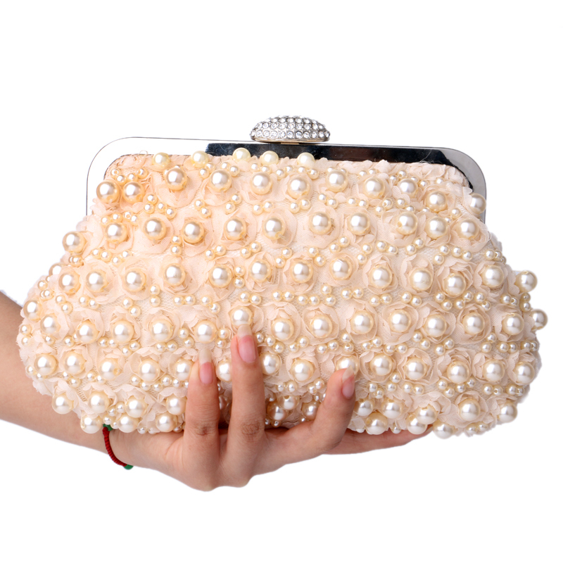 Buy Rose beaded women evening bags clutch pearl lace handbags shell shaped  evening bag for wedding bridal purse bags in Cheap Price on m.alibaba.com
