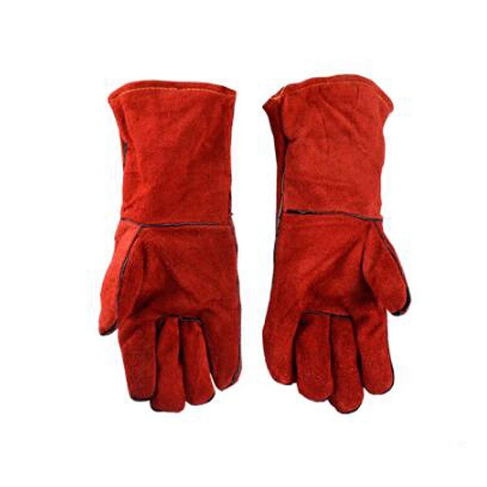 Welding gloves Industrial Welding Insulation Wear-resistant Leather Heat-resistant Gloves Red Full Length 13.78inch,Red-OneSize