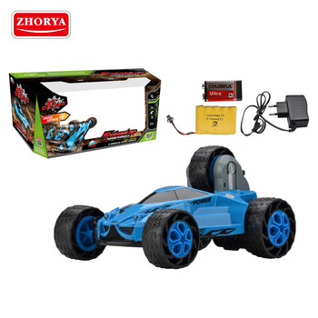 Zhorya plastic strong power 5 wheel rolling rechargeable high speed stunt toy remote control car for kids