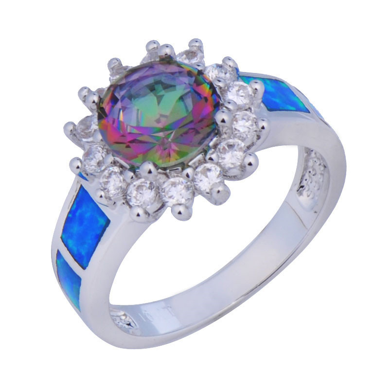 Gorgeous Blue Opal Size6/7/8/9 Colorful Sapphire White CZ 10KT White Gold Filled Band Anel Aneis Women Wedding Rings RP0054