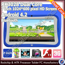 "7"" rk3028 de doble núcleo tableta educativos para los niños 8gb flash android"