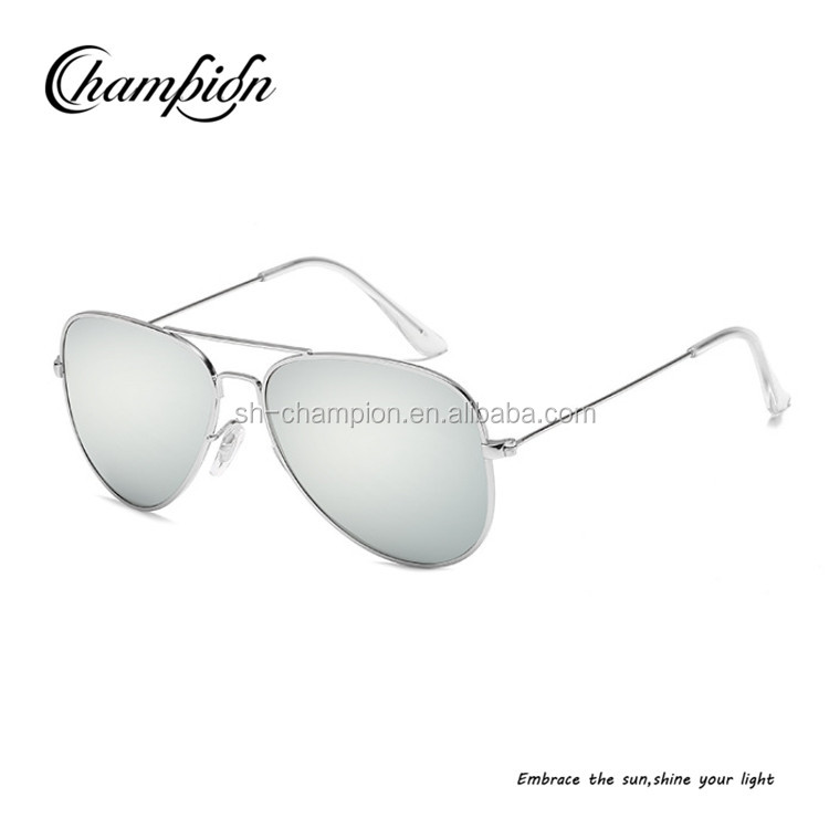 CPJ711 High quality metal frame colored mirror polarized flat lens aviator sunglasses