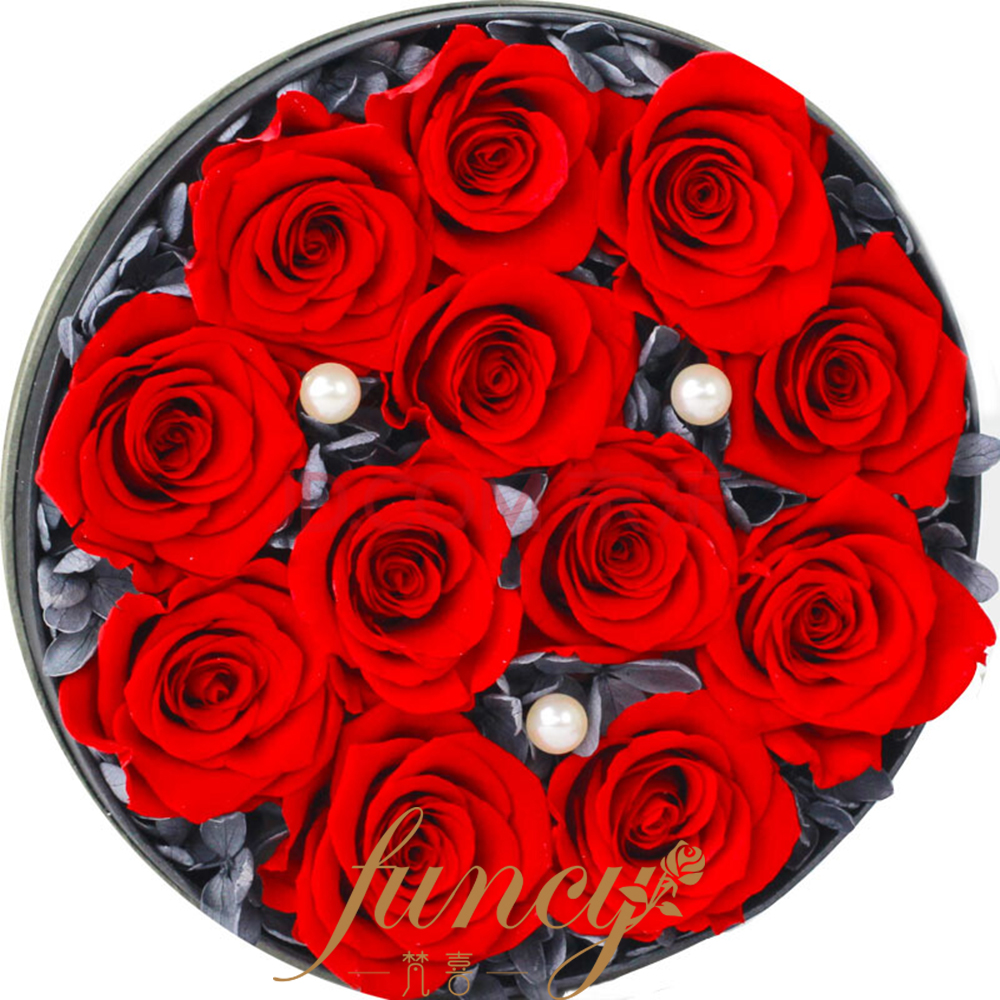 Customized High Quality Long Duration Time 12 Pcs Preserved Forever Red Roses Flowers in Velvet Box