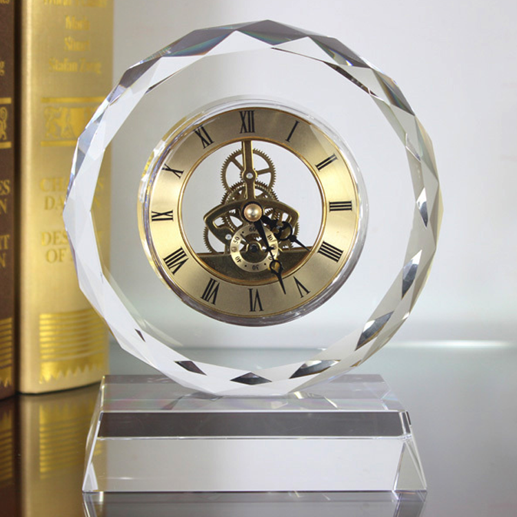 custom crystal table craft clock with custom company logos