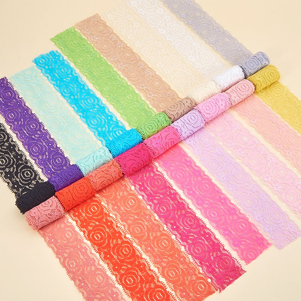 8b8a6aa933 BENECREAT 18 Colors 1 Yard Each Lace Fabric Stretch Elastic 1.57 inches  Wide Trim Lace for
