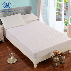 China supplier polyester mixed cotton self-binding quilted mattress pad protector with elastic for hotel