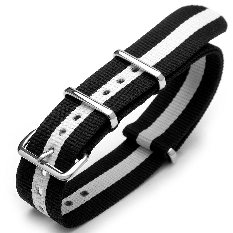 6234fd185c8 Get Quotations · 20mm G10 Nato James Bond Nylon Watch Strap Polished Buckle  - Black   White