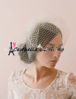 White Flower Bridal Birdcage Face Veil With Combs Por Hair Accessories